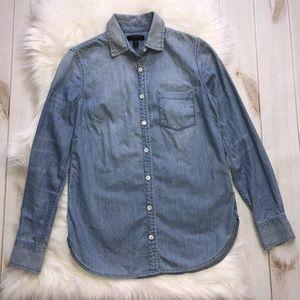 J.Crew Denim Chambray Shirt Blouse Top Button Down